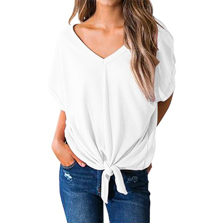 9ff5f34f1eac42 SySea - Short Sleeve Women V-neck Tie Front Tops Solid Blouse - Walmart.com