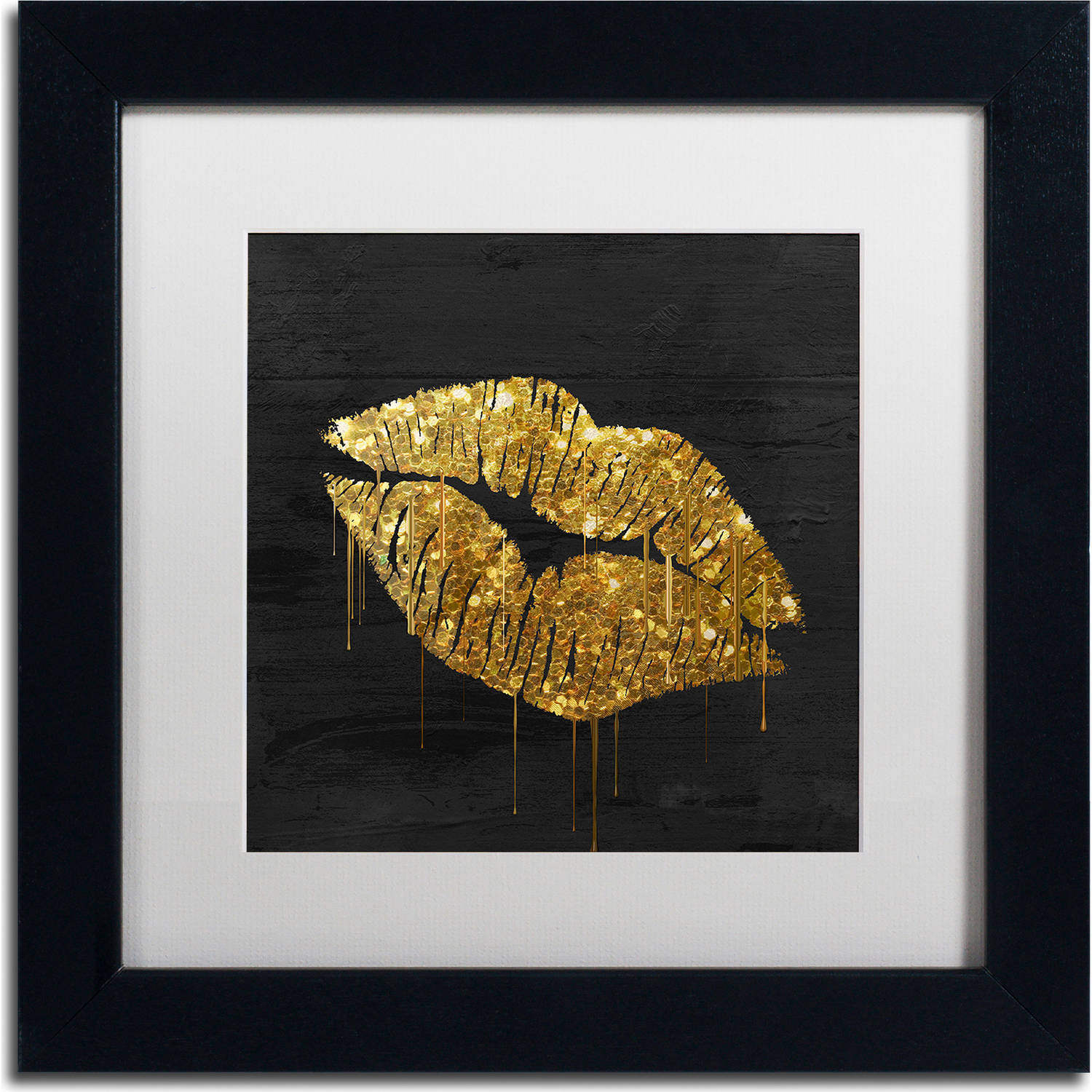 "Trademark Fine Art ""Golden Lips"" Canvas Art by Color Bakery, White Matte, Black... by Trademark Global LLC"