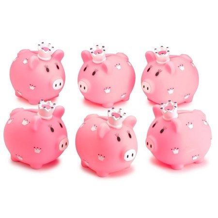 Piggy Bank - 6 Pack 3.5-Inch, Little Princess Pink Coin Bank, For Kids Money Collections And Savings. Makes a Perfect Unique Gift, Nursery Décor, Keepsake – By Kidsco