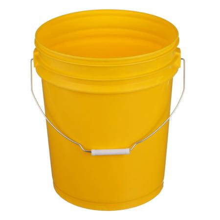 Seachoice 90120 5-Gallon Plastic Bucket with Metal Handle Yellow - Large Metal Bucket
