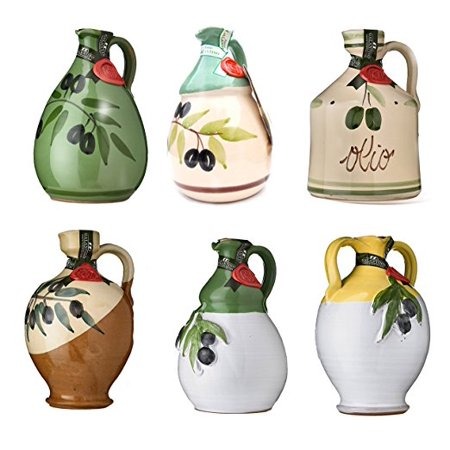 One (single) GALANTINO Extra Virgin Olive Oil in Hand Painted Ceramic Amphora, One Jug From the Six Shapes and Styles, 17 ounce (Olive Shape)