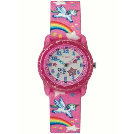 Time Timer Watch - Girls Time Machines Pink/Rainbows & Unicorns Watch, Elastic Fabric Strap