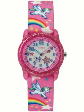 7bd64beaa Product Image Girls Time Machines Pink/Rainbows & Unicorns Watch, Elastic  Fabric Strap