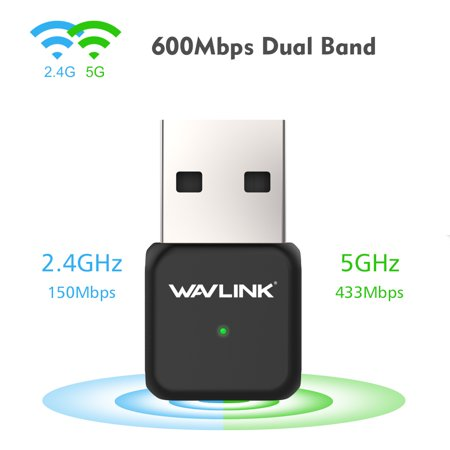 Mini 600Mbps Dual Band 5Ghz  2 4Ghz Wireless Usb Wifi Lan Network Adapter Card Dongle 802 11Ac For Laptop Pc Wavlink