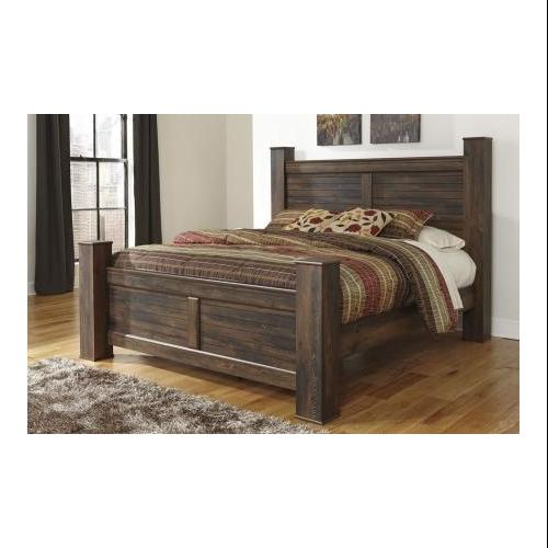 Signature Design by Ashley  B24668666199 Quinden King Size Poster Bed with Horizontal Slat Details  Framed Panels and