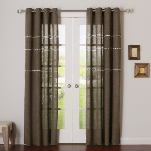Best Home Fashion, Inc. Striped Sheer Grommet Curtain Panels (Set of 2)