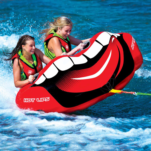 WOW Hot Lips 2-Person Towable with Front and Back Tow Points
