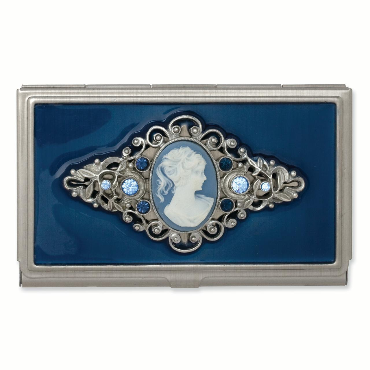 Roy Rose Jewelry 1928 Collection Steel Blue Enameled & Cameo Business Card Holder