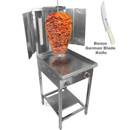 Trompo Para Tacos Al Pastor Dual Infrared Propane Gas Burner with Stainless Steel Comal Griddle 9.5
