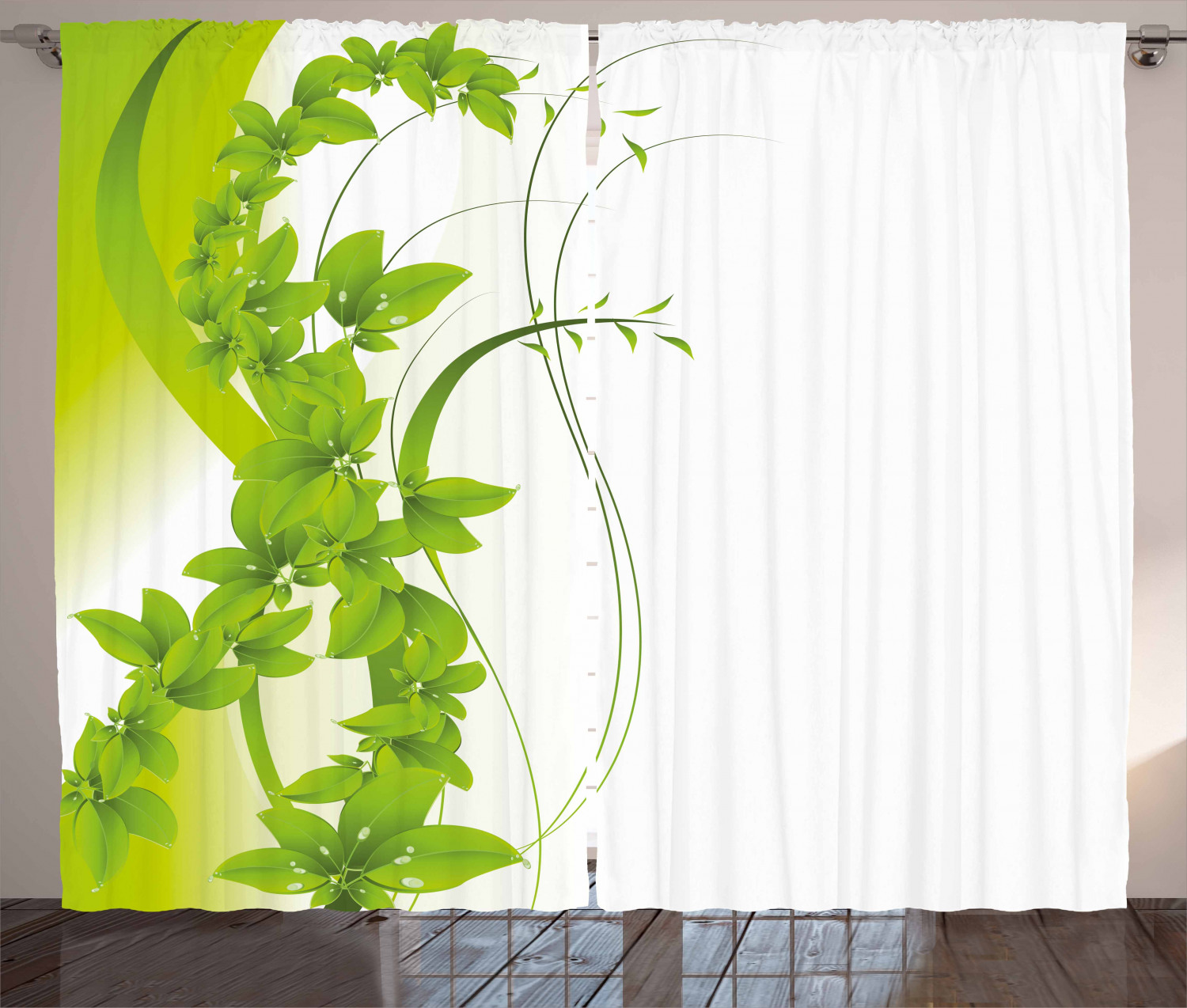 Green Curtains 2 Panels Set Blossoming Flowers Natural Fantasy Theme Abstract Botanical Garden Design Window Drapes For Living Room Bedroom 108w X