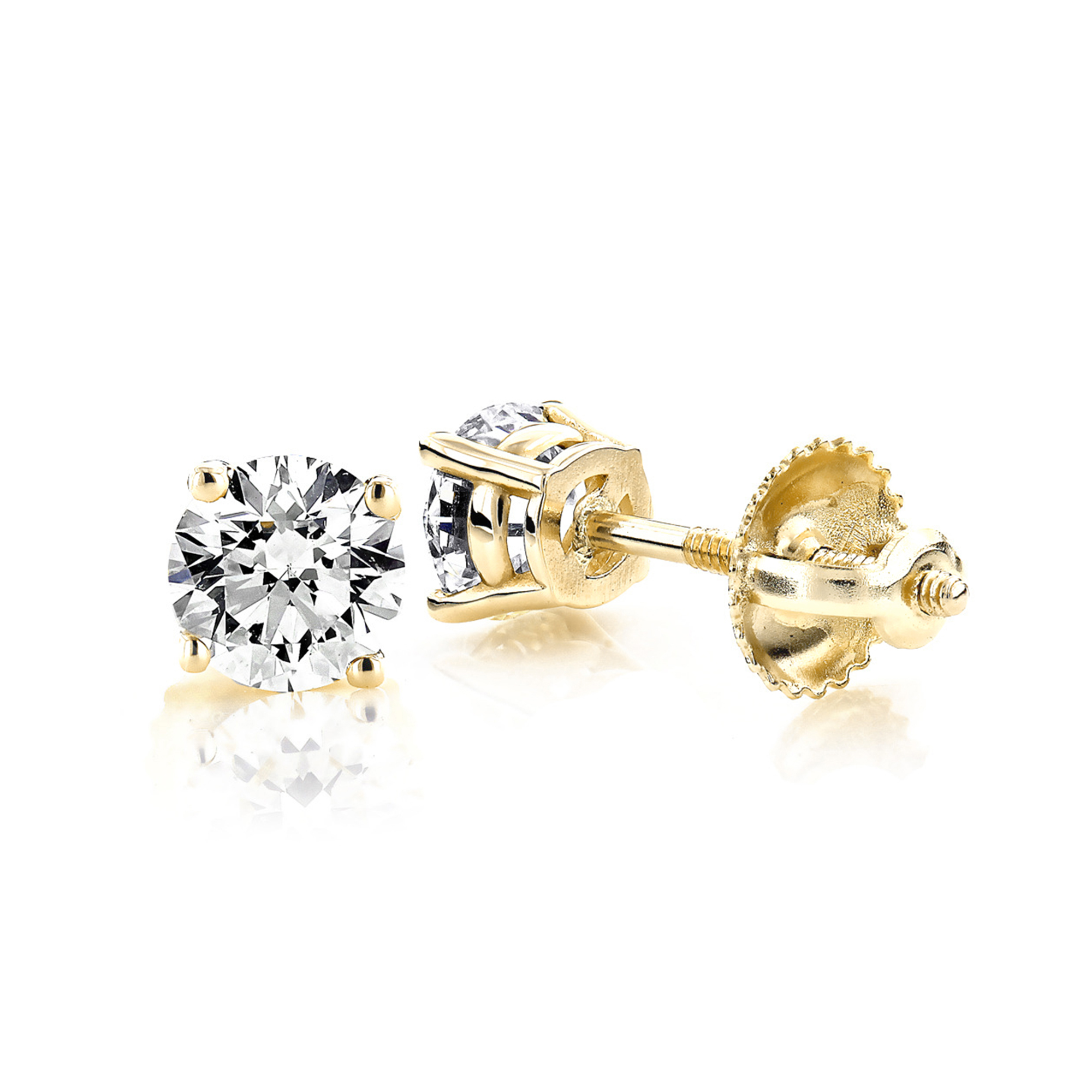 lyst fire moissanite on jewelry white view stud gold earrings prong three hearts fullscreen diamond