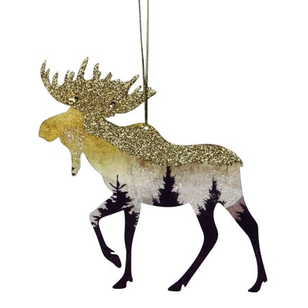 "4.5"" Glittered Woodland Moose Silhouette Christmas Ornament"