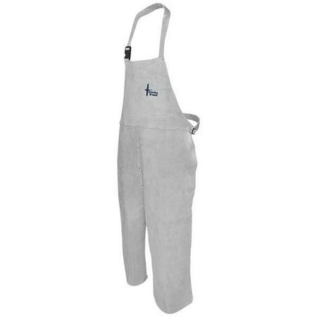 Bob Dale 64-1-68-48 Welding Apron Leather Split Leg Bib Apron 24x48 Pearl Grey, Size 48
