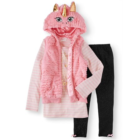 Unicorn 3D Faux Fur Vest, Graphic Tee & Knit Denim Legging, 3-Piece Outfit Set (Little Girls & Big - Superhero Outfit For Girl