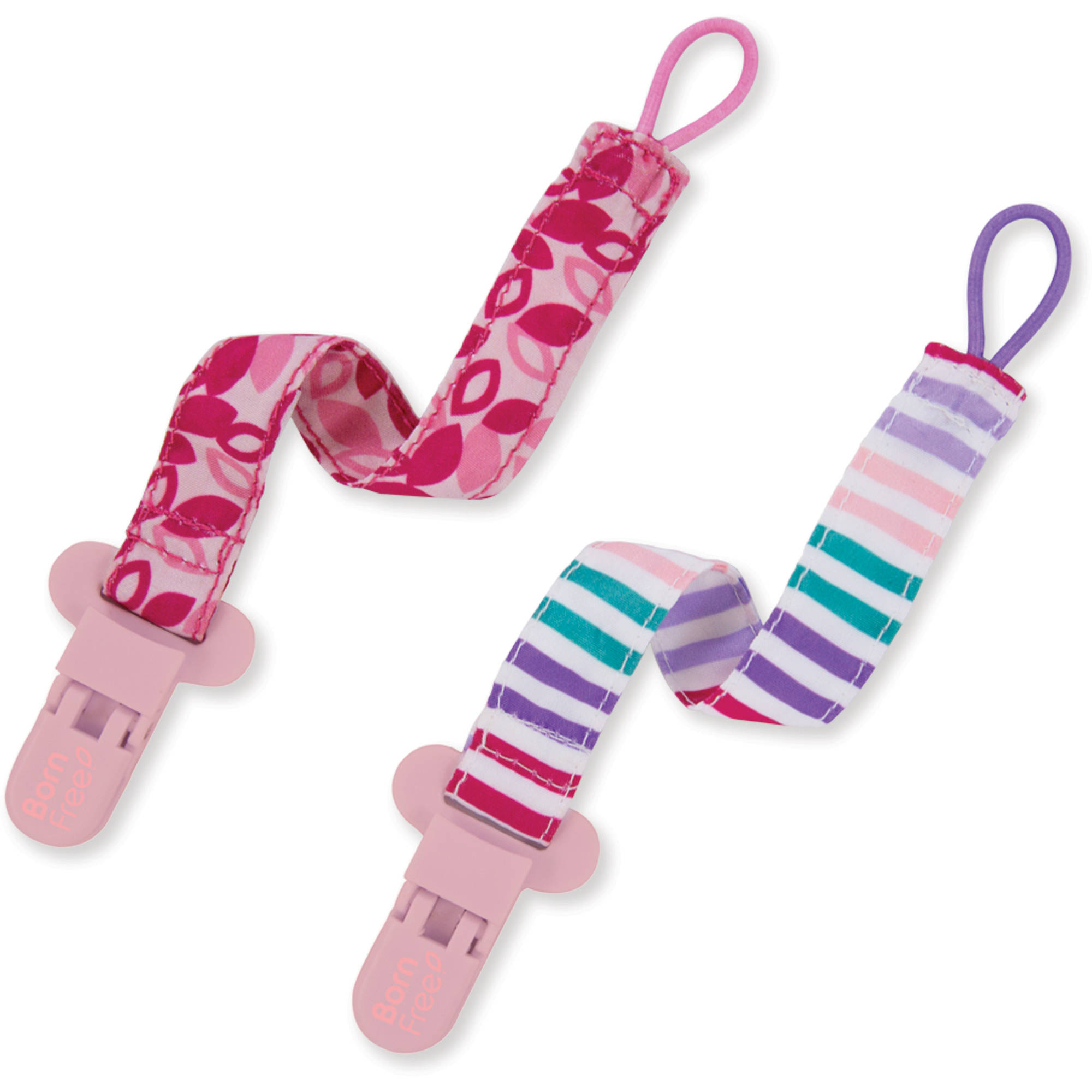 Born Free Bliss Pacifier Holder, Girl, 2pk