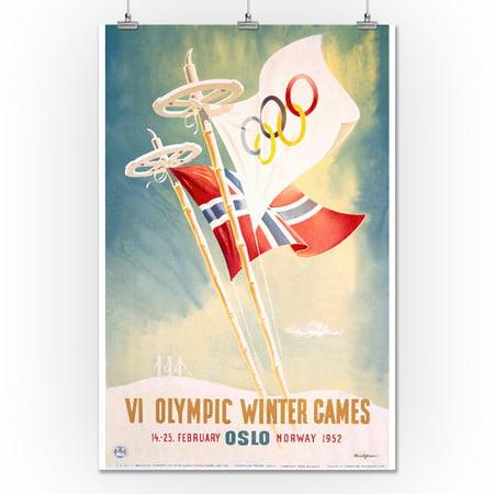 1630470174b VI Olympic Winter Games - Oslo Vintage Poster (artist  Yran) Norway ...