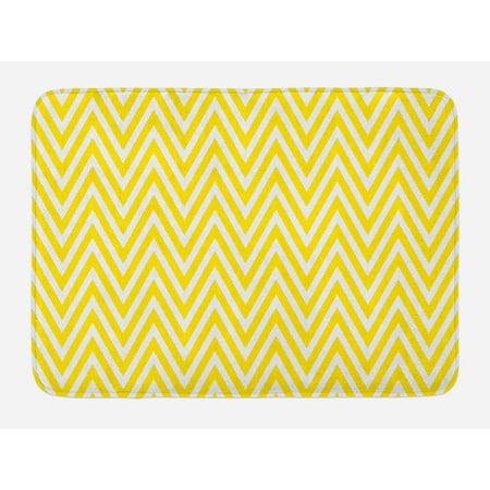 Yellow Chevron Bath Mat Thin And White Stripes Retro Pattern In Contemporary Design