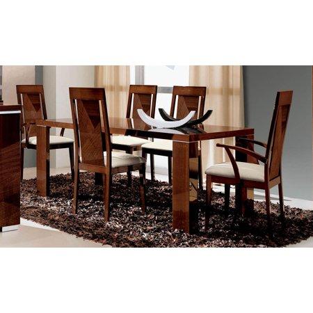 Esf Alf Group High Gloss Dark Walnut Capri Dining Room Set 7 Pcs Made In Italy