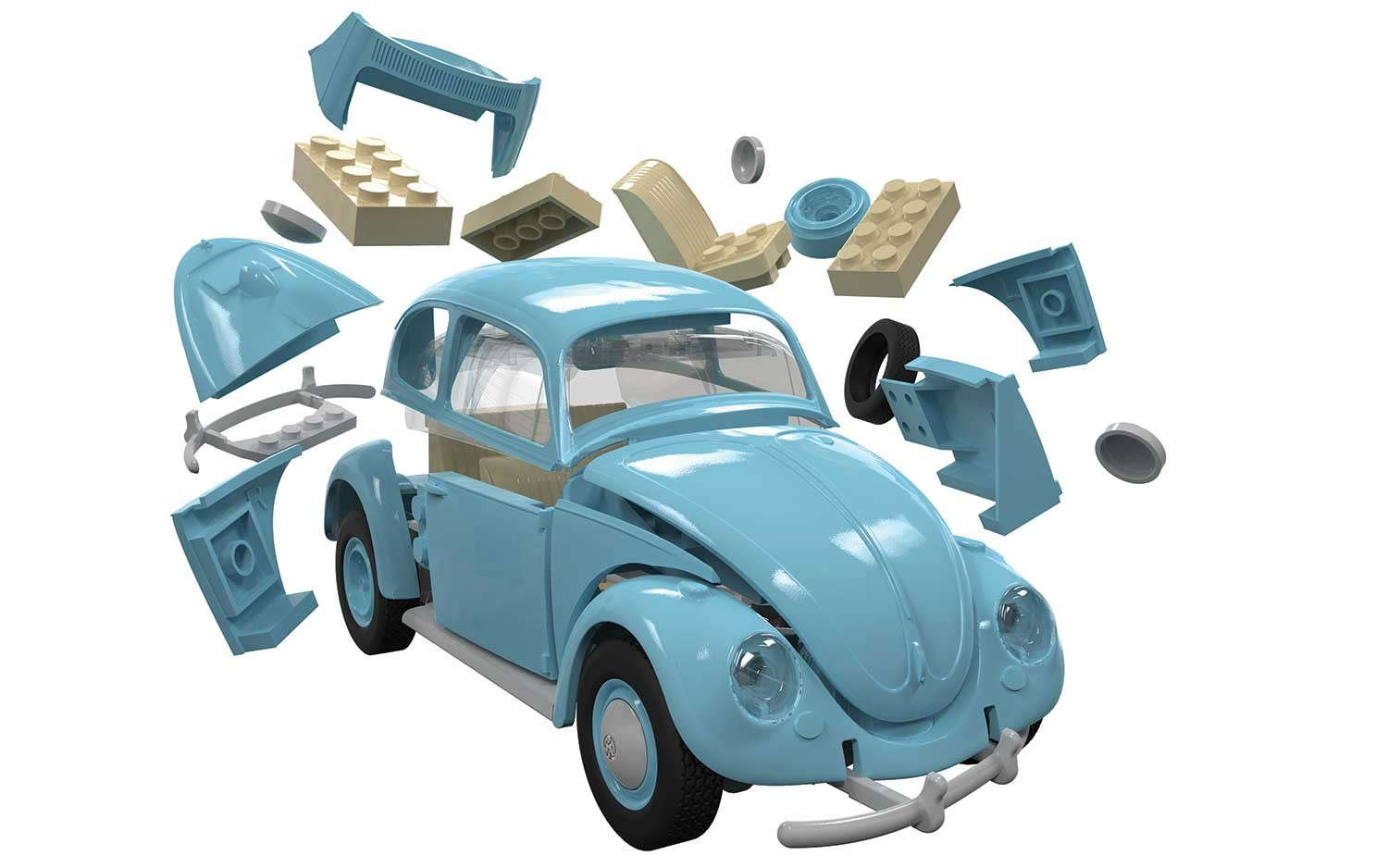 Airfix Quickbuild Volkswagen Beetle Blue Brick Building Model Kit