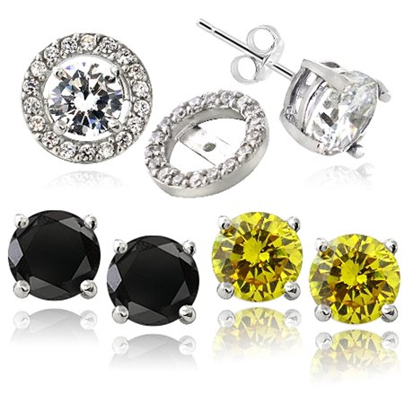 - Black, Clear and Yellow CZ Sterling Silver Stud with Halo CZ Earring Jacket, Set of 3