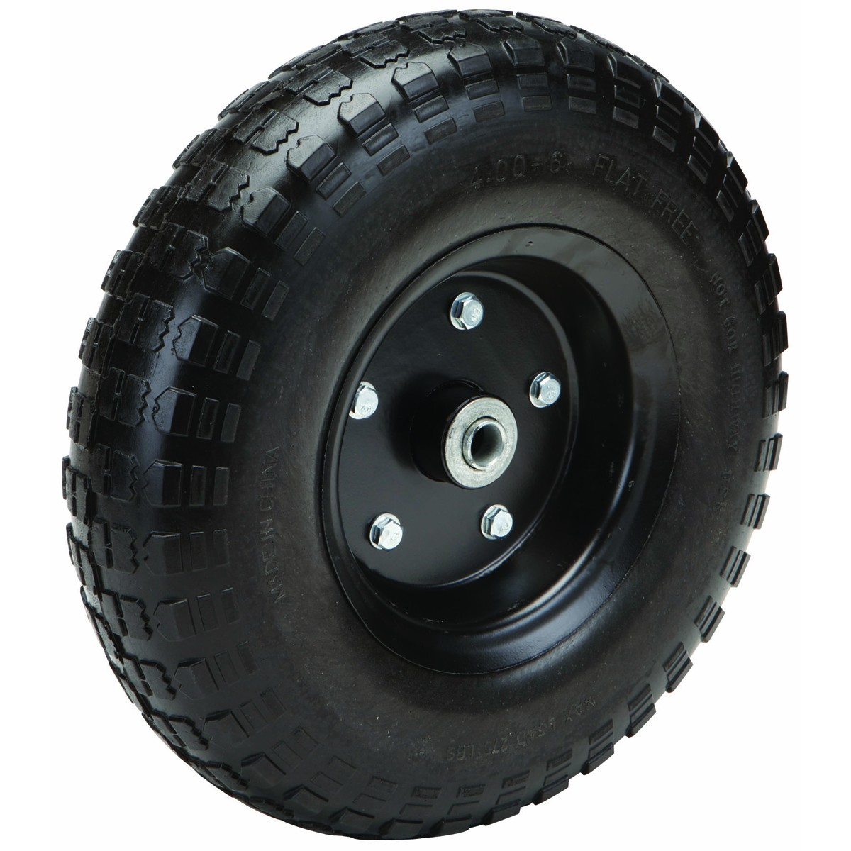 13 in. Flat-Free Heavy Duty Tire with Powder Coated Steel Hub