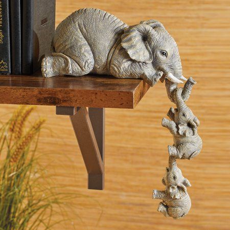 Collections Etc Elephant Sitter Hand-Painted Figurines - Set of 3, Mother and Two Babies Hanging Off The Edge of a Shelf or Table ()