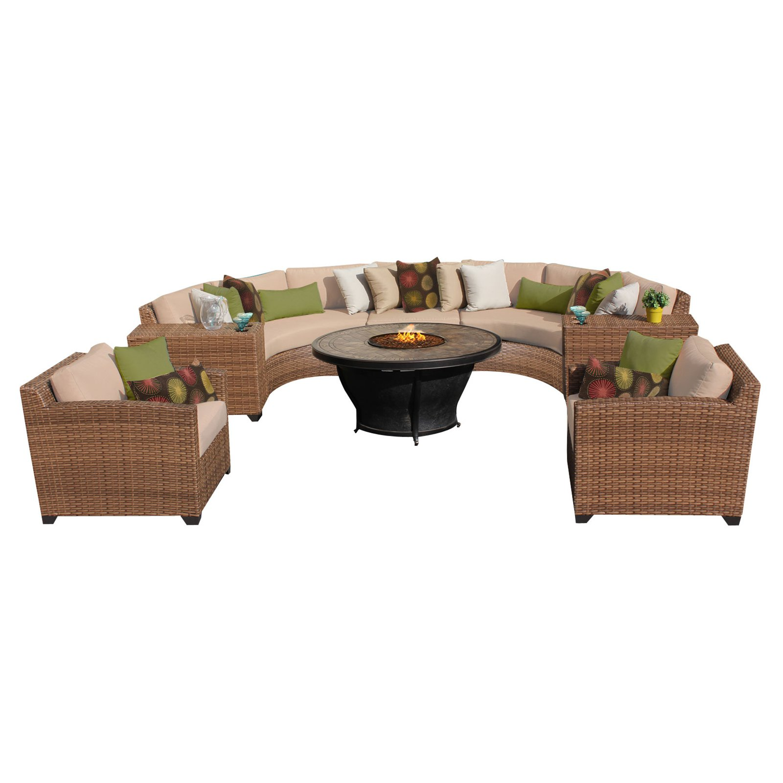 TK Classics Laguna Wicker 8 Piece Patio Conversation Set with Fire Pit Table and 2 Sets of Cushion Covers