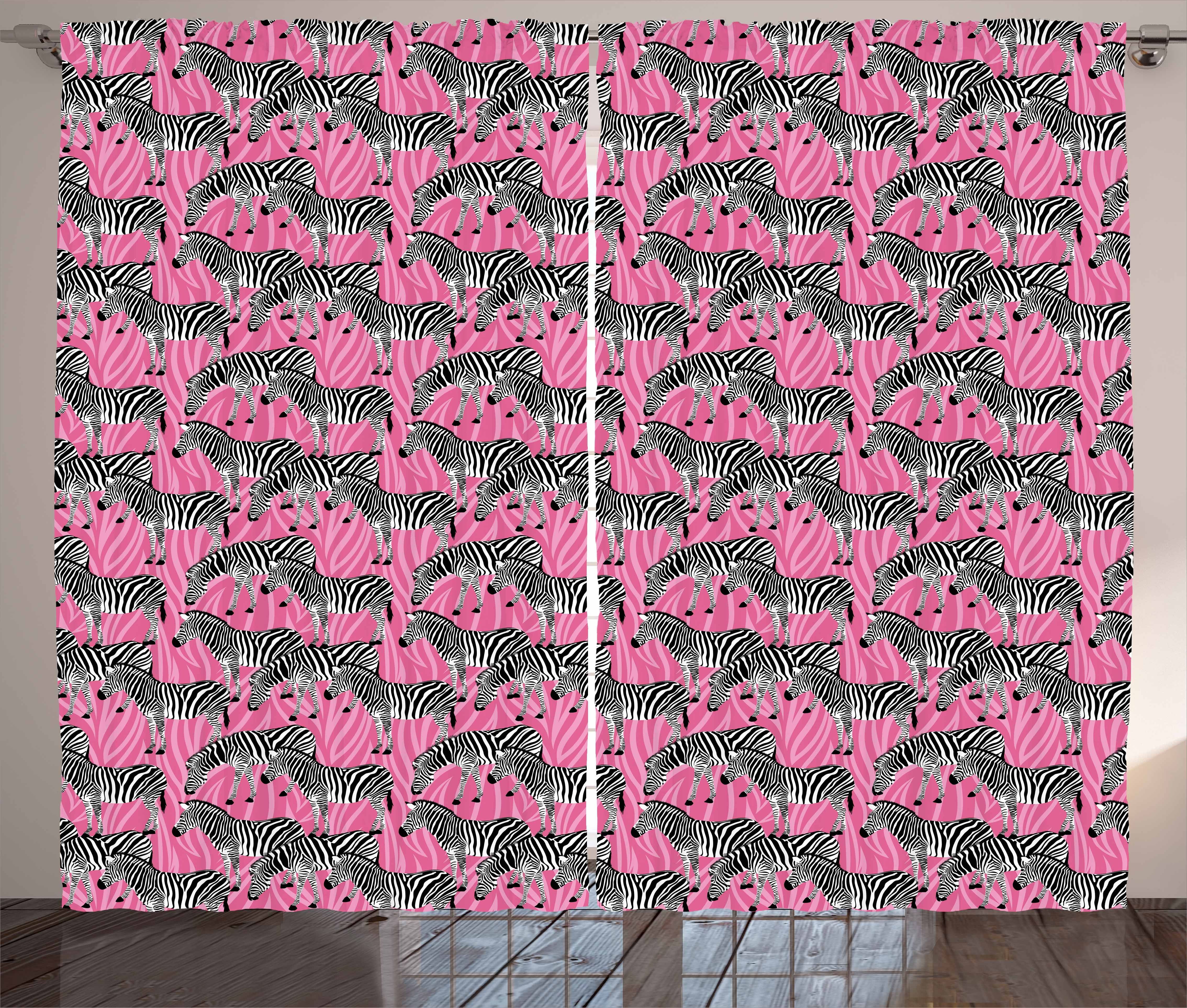 Pink Zebra Curtains 2 Panels Set, Zebras Pattern Wild Animal Hippie ...