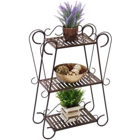 Best Choice Products Multifunctional 3-Shelf Metal Plant Stand Display Rack with Slatted Shelves,