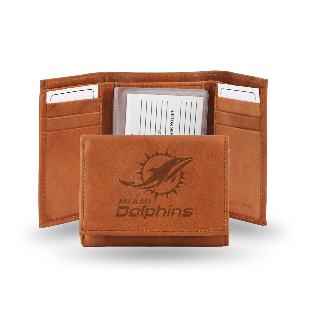 Miami Dolphins NFL Tri-Fold Wallet (Pecan Cowhide)