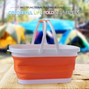 Clairlio Silicone Bucket Folding Outdoor Fishing Camping Picnic BBQ Barrel (Orange)