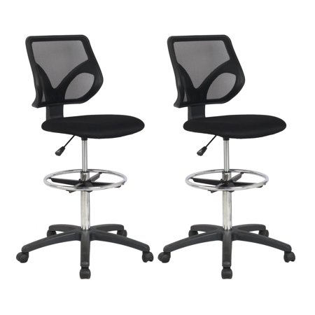 Cool Living Mesh Armless Fixed Upright Adjustable Drafting Chair, Black (2 Pack)