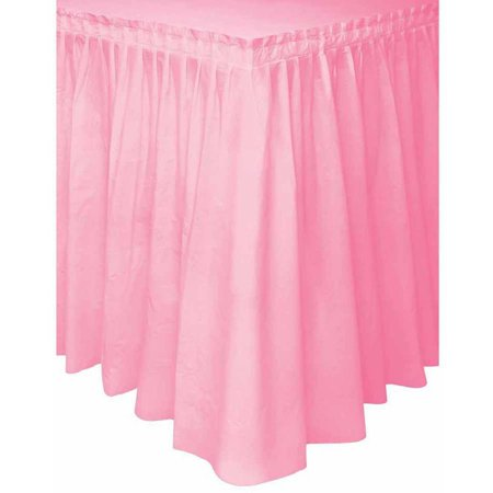 (3 Pack) Plastic Table Skirt, 14 ft, Light Pink, 1ct - Pink Plastic Plates