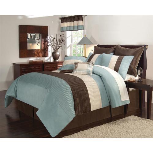 Vcny Essex Blue And Brown 8 Piece Comforter Set King Aqua