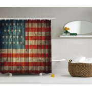 Rustic Decor American Usa Flag Shower Curtain Set, Fourth Of July Independence Day Painted Old Wooden Looking Background Patriotism, Bathroom Accessories, 69W X 70L Inches, By Ambesonne