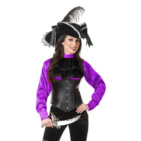 Womens Purple Satin Pirate Shirt Blouse](Womens Pirate Shirt)