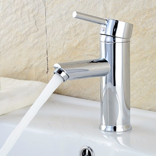 Tapcet Modern Bathroom Basin Sink Mixer Chrome Brass Faucet Single Lever Hot&Cold Water