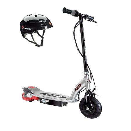 Razor E125 Motorized 24-Volt Electric Scooter, Black + Razor Youth Helmet, Black](Youth Toms Outlet)