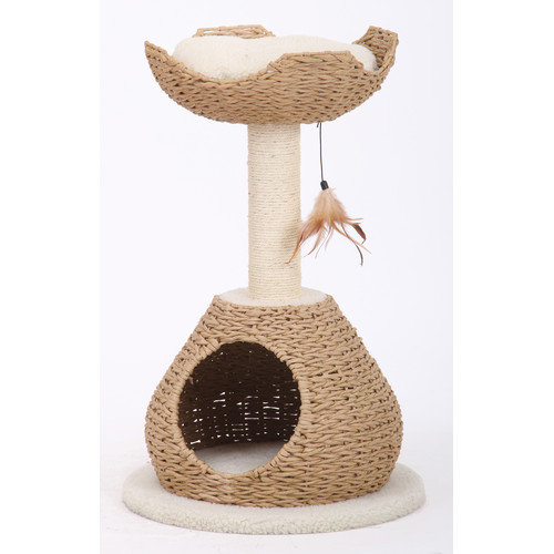 Petpals Group Walk Up Paper Rope Condo and Perch with Sisal Post
