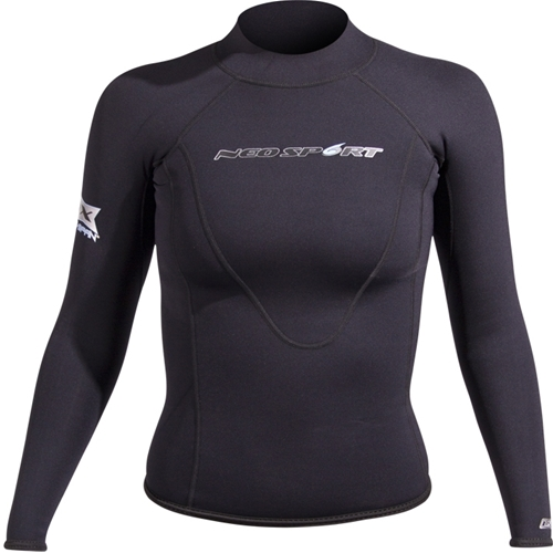 Neosport Womens XSPAN 1.5mm Long Sleeve Rashguard (Black, 6)