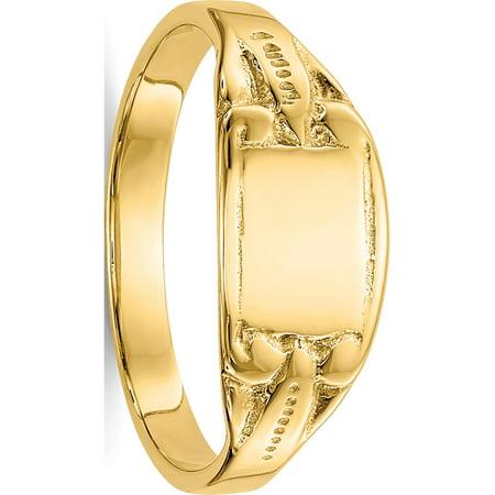 14k Yellow Gold Rectangular Baby Signet Ring - image 5 of 5