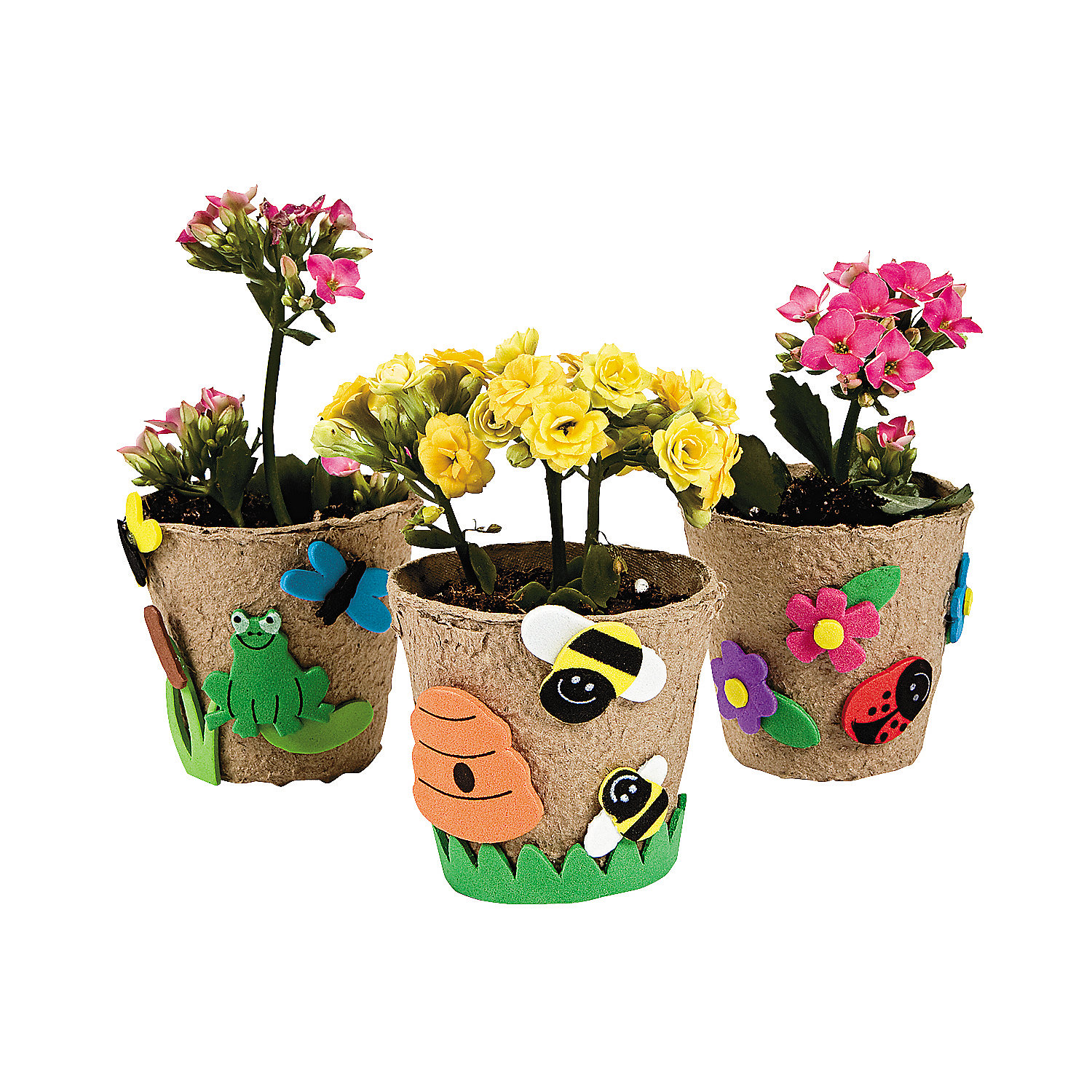 Fun Express - Garden Pot Craft Kit - Craft Kits - Home Decor Craft Kits - 3 - D Tabletop - 12 Pieces