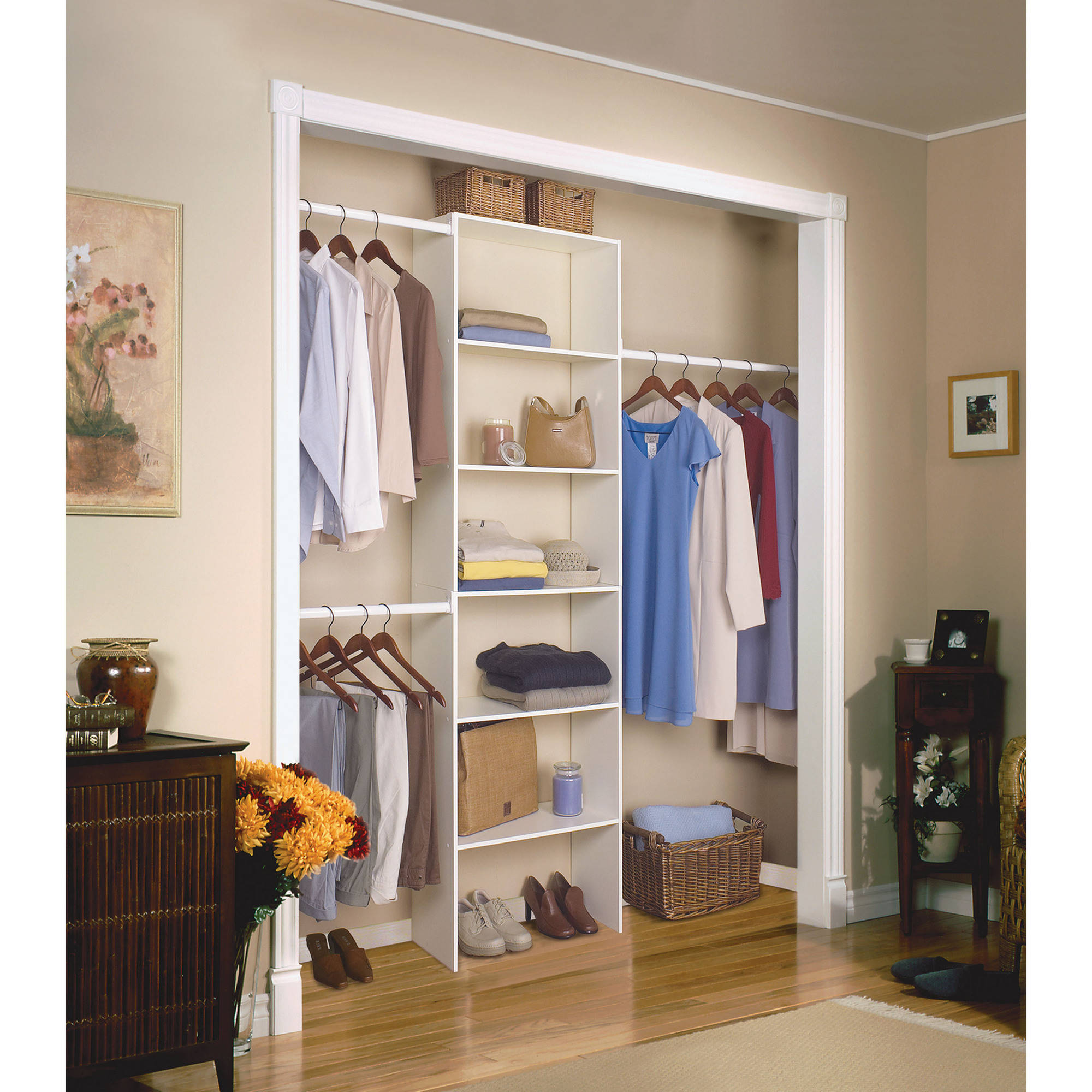 Vertical Closet Organizer Clothes Storage Shelf System Wood Shelves Rh Ebay  Com Diy Storage Shelves For Closet Storage Shelves For Linen Closet