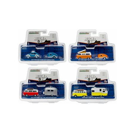 Hitch & Tow V-Dub Assortment Set of 4 1/64 Diecast Model Cars by Greenlight (Diecast Assortment)