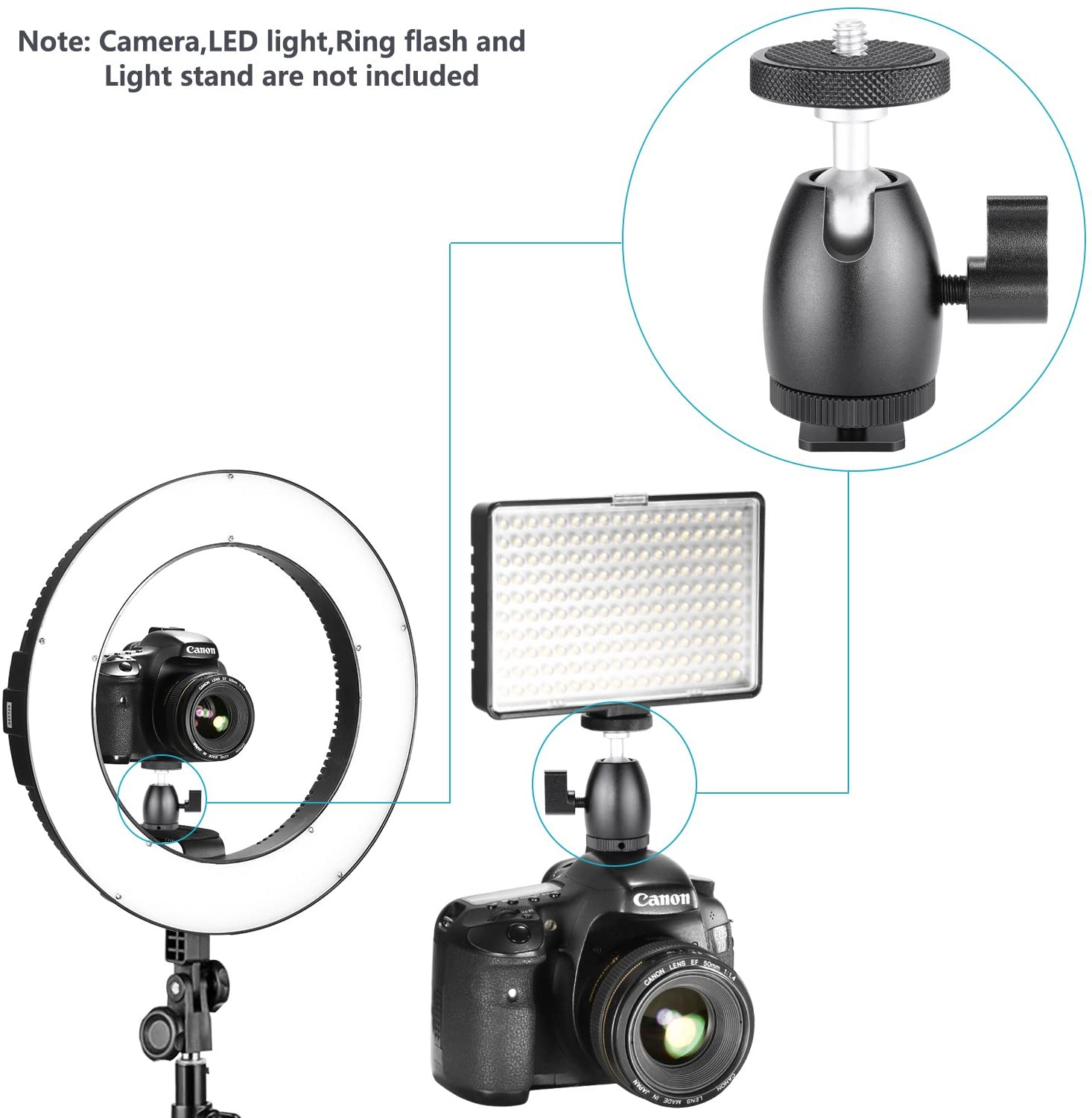 360 Degree rotatable Tripod Ball Head Light Stand and Flash XINJUE Standard 1//4 inch Screw Base can Quickly Release SLR Camera