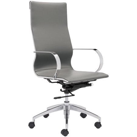 Sensational Zuo Glider Faux Leather High Back Swivel Office Chair In Gray Evergreenethics Interior Chair Design Evergreenethicsorg