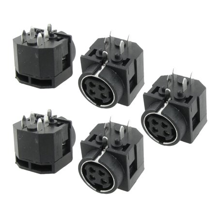5 Pcs PCB Mount DC Female 4 Pin  DIN Power Jacks Dptte
