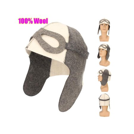 "Wool Felt Sauna Hat Russian Banya Cap 100% Wool Felt White Sauna Hat for Head Protection 9.8"" x 14.2"" Dia. 8.7"""