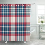 CYNLON Pattern Blue Check Plaid Red Tartan White Retro Cross Bathroom Decor Bath Shower Curtain 60x72 inch