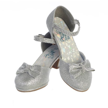 Girls Silver Glitter Rhinestone Strap Bella Dress Shoes 2 - Silver Glitter Kids Shoes